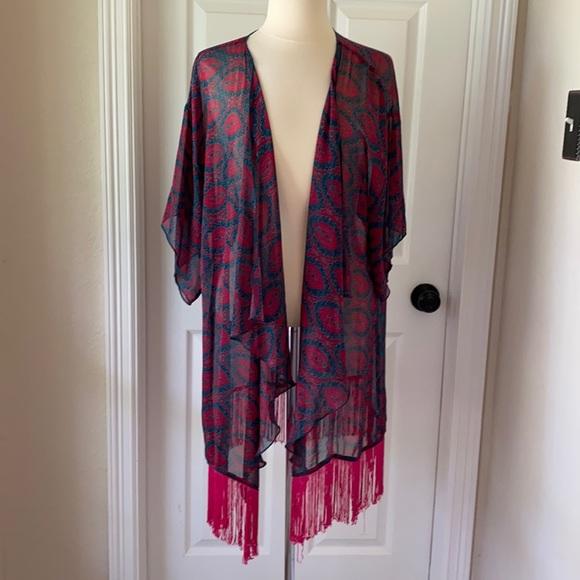 LuLaRoe Turquoise & Hot Pink Kimono Sz Large